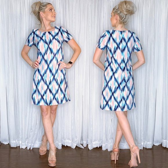 AGB Dresses & Skirts - Pink And Blue Pattern Contemporary Work Dress